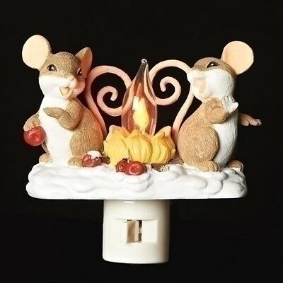 Charming Tails Mice By Campfire Flicker Night Light Lite New 131122