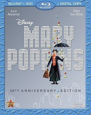 MARY POPPINS New Blu-ray + DVD 50th Anniversary Edition Julie Andrews Disney