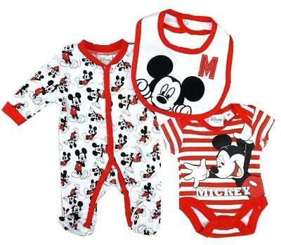 Baby Boys Girls Disney Mickey Mouse Layette Outfit Babygrow Bodysuit & Bib Set