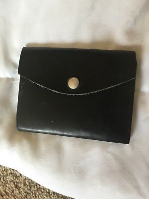 Vintage Black Leather Badge Id Holder