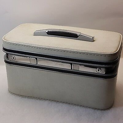 Samsonite Safari II Vintage 1960s White Cosmetic Train Travel Carry On Case