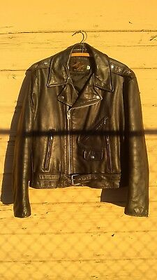 "Vintage 1960'S MONTGOMERY WARD ""TWO STAR""  Black Leather Motorcycle Jacket SZ.46"