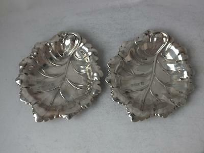"Pair of Solid Sterling Silver ""Leaf"" Dishes 1975/ L 8.5 cm/ 58 g"