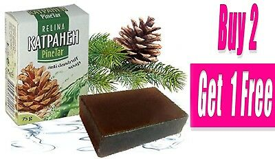 NATURAL PINE TAR SOAP BIRCH BARK Psoriasis Acne Anti-dandruff Anti-bacterial 75g