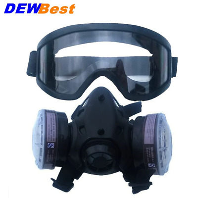 New Half Face Gas Mask With Anti-fog Glasses N95 Chemical Dust Mask Filter Breat