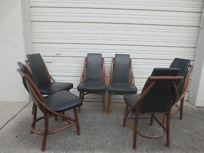 6 Bamboo Chairs Atomic Age Curved Mid-century Modern Dining SIX Rattan MCM 50's