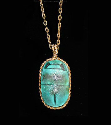 "~~Antique Large Egyptian Turquoise ""faience"" Scarab Necklace!~~"