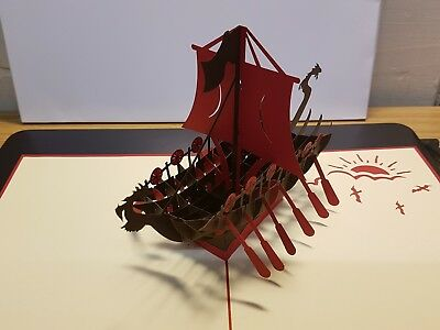 3D  Pop Up Viking/ Pirate Ship Card. Birthday, Thank you, Anniversary,Occasions
