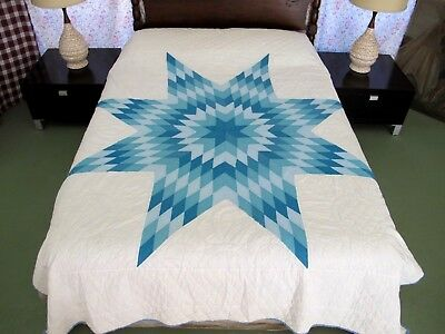 "Vintage All Cotton Hand Quilted LONE STAR Blue & White Quilt; 86"" x 73"""