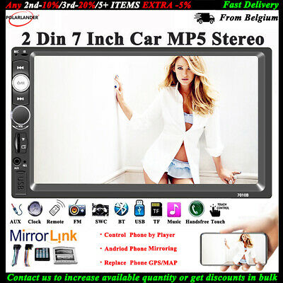 7'' 2 DIN Touch Screen Car Radio USB/TF/AUX/FM/Remote MP5 Stereo Audio Bluetooth