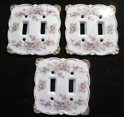 Set of 3 Vintage Lefton Japan Double Light Switch Plate Cover Floral Roses 6839