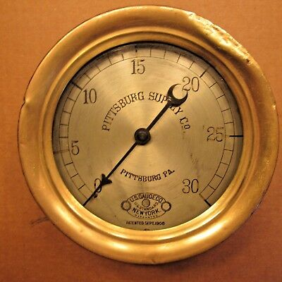 "Antique1906 6"" Pittsburg Supply Co Pa Us Gauge Steam Pressure Vintage Brass Old"