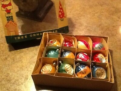 Vintage Poland Hand Painted Christmas Ornaments-5 Indents-Fantasia Brand-in Box