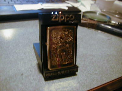 Old 1995 Zippo Lighter Gold Plated Camel Works Good Very Nice Used Condition