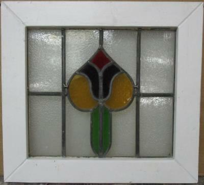 "OLD ENGLISH LEADED STAINED GLASS WINDOW Pretty Abstract Design 20.25"" x 18.5"""