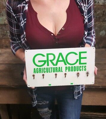 Vintage Grace Agricultural Products Key Holder Advertising Sign