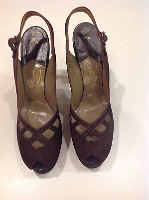 Super Brown Vintage Suede Shoes Beleganti Peep Toe 1940's