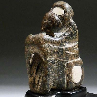 Stone MONKEY Amulet Bactrian Figure w/White INLAID Stone EYES Bronze Age 1800 BC