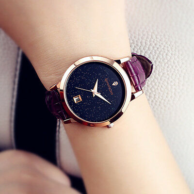Luxury Women Men Simple Quartz Analog Watch Gold Leather Band Wrist Watches
