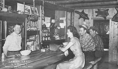 Troy & Libby Montana~Antlers Saloon & Bar~Interior~Bartender~Patrons~1940s B&W
