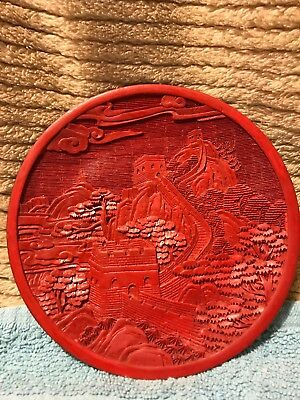 CHINESE CINNABAR Vintage Hand-Carved CINNABAR Red Laquered Dish Plate