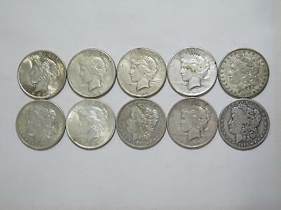 10- Peace Morgan Dollars $1 90% Junk Silver U.s. Mint Mixed Coin Collection Lot