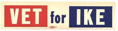 "1952 Dwight Eisenhower VET FOR IKE Campaign Decal 2"" x 8"""