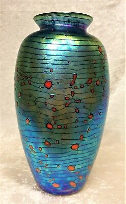 Stunning Signed Philabaum 1998 Iridescent Art Glass Vase Excellent 8 3/4