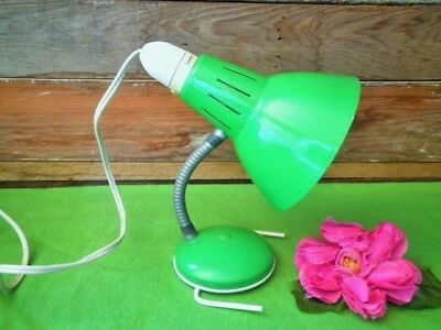 Retro Bedside Lamp Jetage Clip On Green Aluminium 60's-70's Vintage Lamp Working