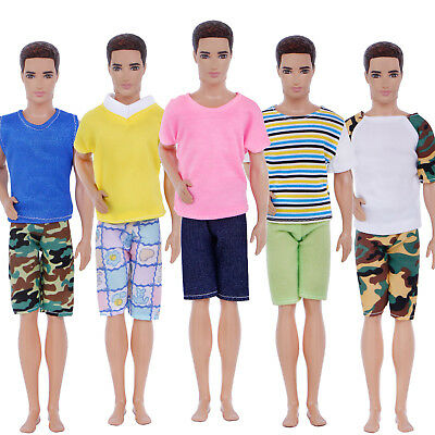 10 Pcs=5 Sets Shirt Shorts Fashion Casual Dress Men Clothes For 12 in. Ken Doll