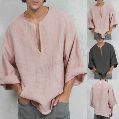 a89a4d59ad2d Men's Linen V-neck Long Sleeve Shirt Baggy Causal Tops Beach Summer T Shirt  Tops