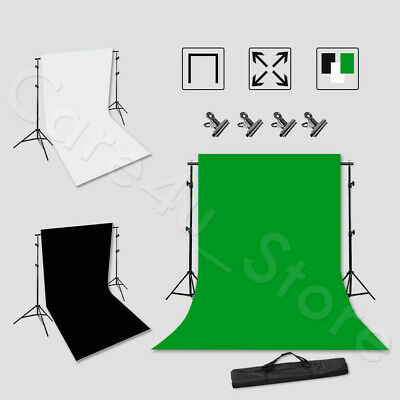 2x3M Photography Black White Backdrop Photo Studio Video Background Screen Kit