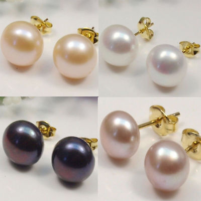 Wholesale 4Color Genuine Natural Akoya Cultured Pearl Gold Stud Earrings AAA+