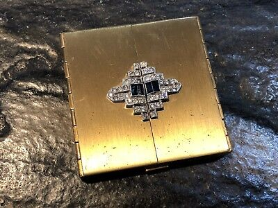 Beautiful Vintage VOLUPTE Jeweled Art Deco Compact Brass Case Circa 1920's