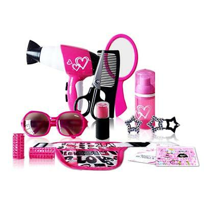 Girls Toy Vanity Beauty Cosmetic Carry Case Pretend Hair Dryer Makeup Role Play