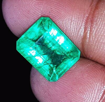 Loose Gemstone 7.92 Ct Certified Natural Emerald Colombian Emerald Shape