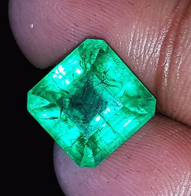 6.72 Ct Certified Natural Emerald Loose Gemstone Colombian Square Shape