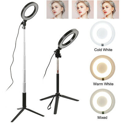 LED Dimmable Studio Camera Ring Light Photo Phone Video Fill Lamp 3 Modes Black