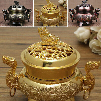 1X China Alloy Incense Burner Double-Dragon Hollow Cover Censer Cone Holder Gift