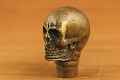 Big Asian tibetan Bronze hand carving skull figure statue walking stick head