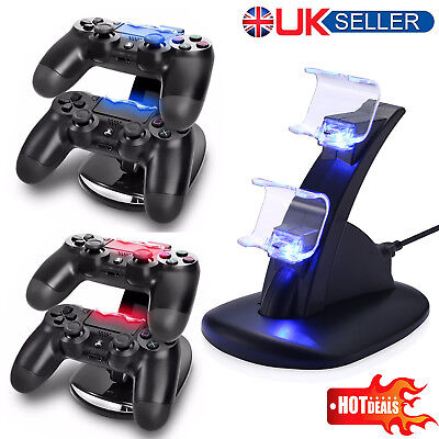 For Sony PS4 Dual Controller USB LED Charging Fast Charger Dock Station Stand UK