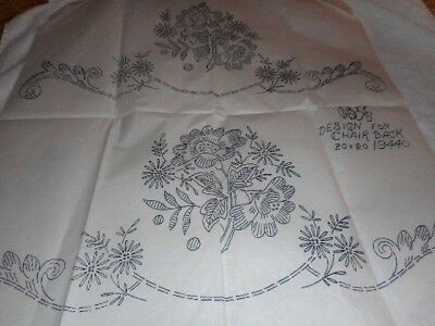 Large Vintage Embroidery Iron on Transfer- B & T No.19440- Chair Backs/ Flowers
