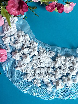 """433# Lovely Application """" Cotton Flower """" Embroidery Tulle Period Vintage"""