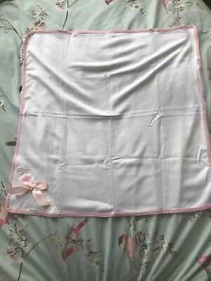 Brand New Cotton Coverlet Spanish Brand - Pink Bow White