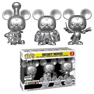 Mickey Mouse Silver Funko Pop 3 Pack Steamboat Willie, Conductor & Apprentice