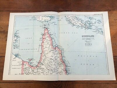1899 double page map from g.w. bacon - australia - queensland north