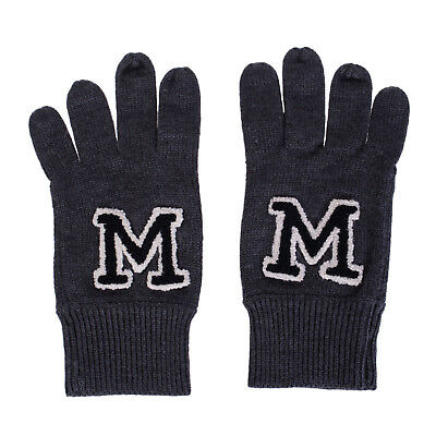 MARKUS LUPFER Everyday Gloves One Size Wool Blend 'M' Patches Knitted RRP €160