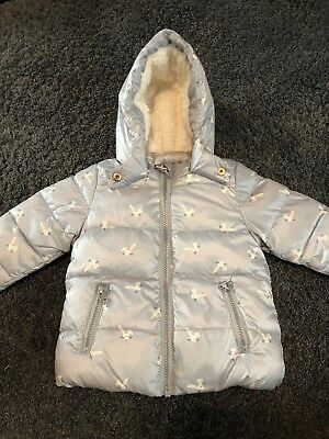 Next Baby Girls Silver Bunny Rabbit Coat Age 6-9 Months