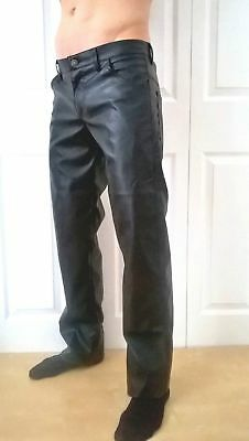 Black Mens Leather Look Pvc Jeans Hipster Trousers Fetish Goth Punk