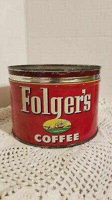 Vintage Folger's Coffee Tin Can 1 Pound Keywind Ship Graphic Xclnt Shape Metal